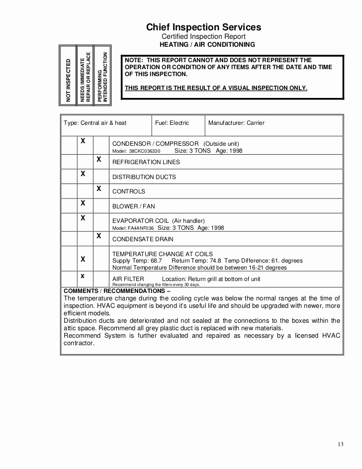 Hvac Start Up Report Template Elegant Air Conditioning Inspection Report Template