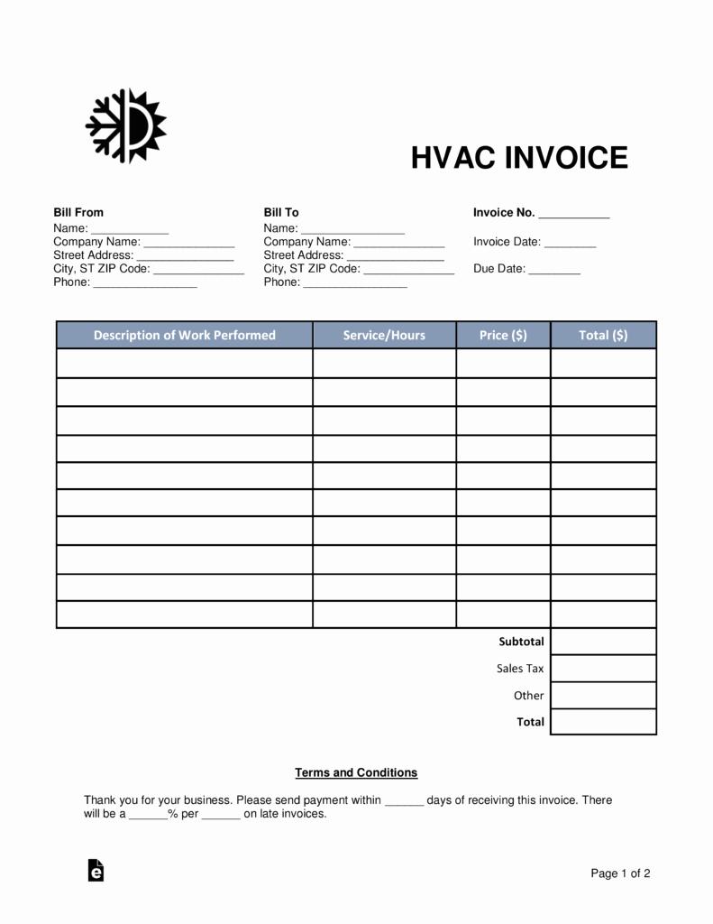 Hvac Start Up Report Template Elegant Free Hvac Invoice Template Word Pdf