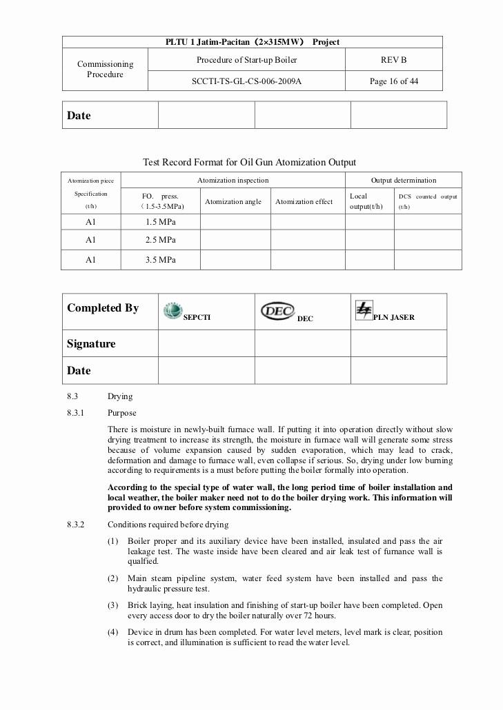Hvac Start Up Report Template Inspirational 06 Procedure Of Start Up Boiler Ok