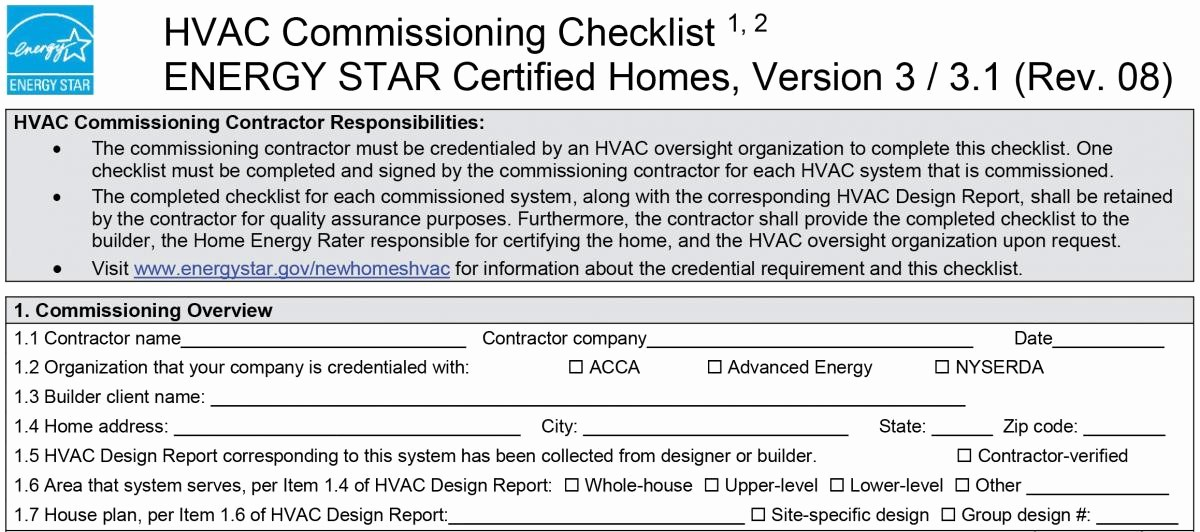 Hvac Start Up Report Template Lovely Energy Star Hvac Missioning Checklist 1 Missioning