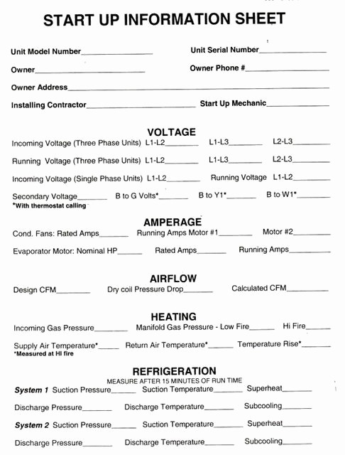 Hvac Start Up Report Template Luxury Hvac Start Up Sheets
