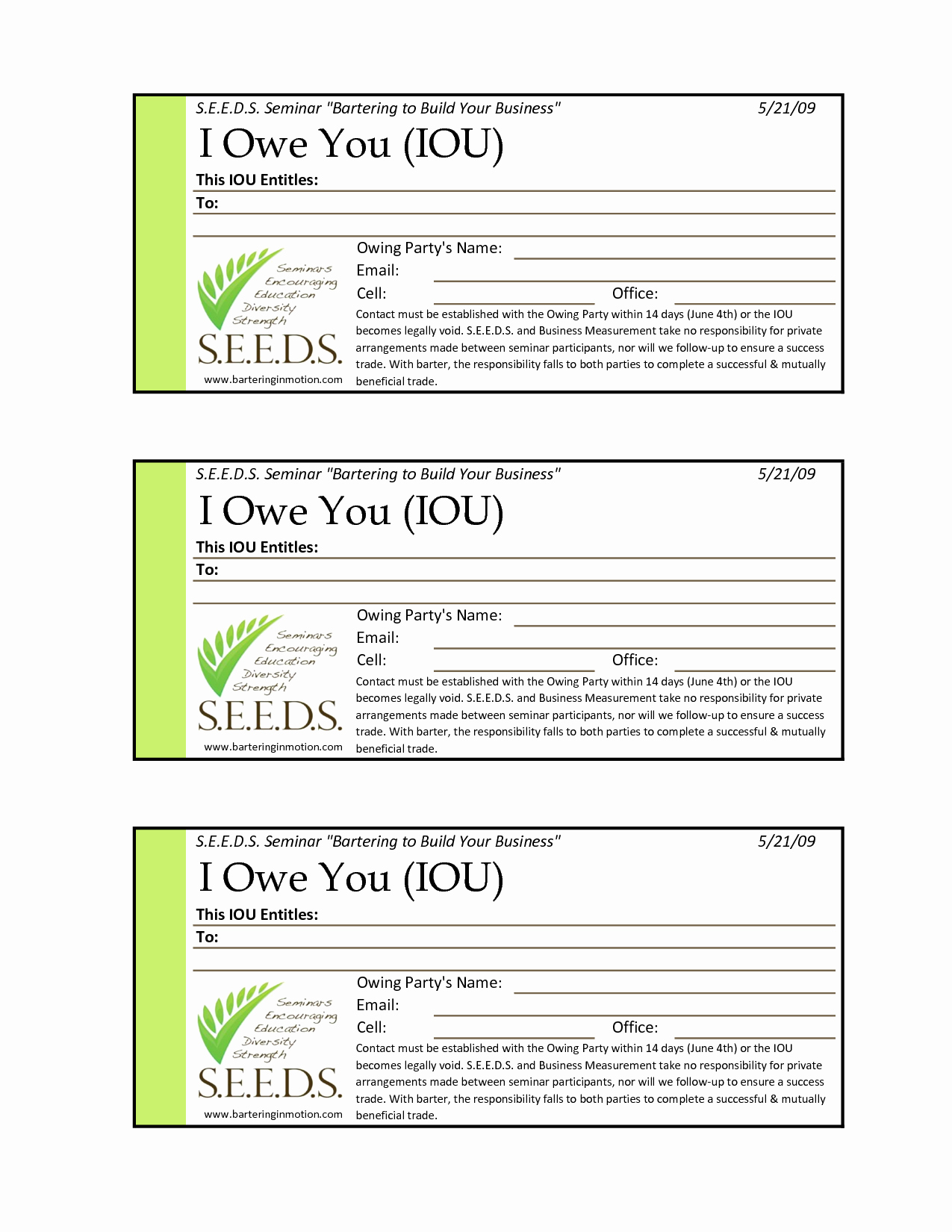 I Owe You Certificate Template Awesome I O U Template Free Printable Documents