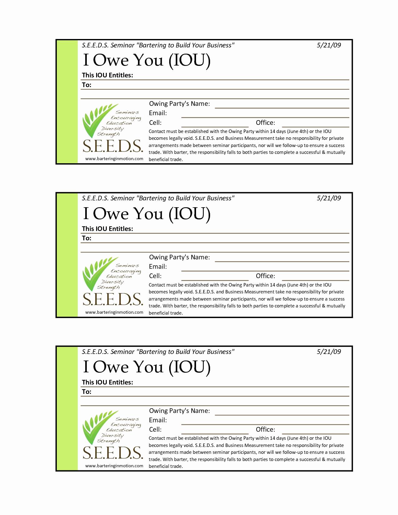 I Owe You Certificate Template Awesome I O U Template Free Printable Documents