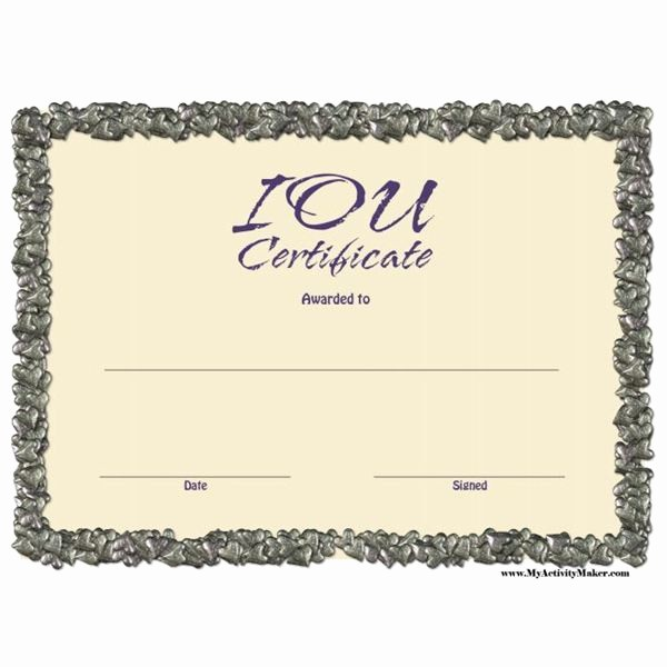 I Owe You Certificate Template Awesome I Owe You Template Free Printable Documents