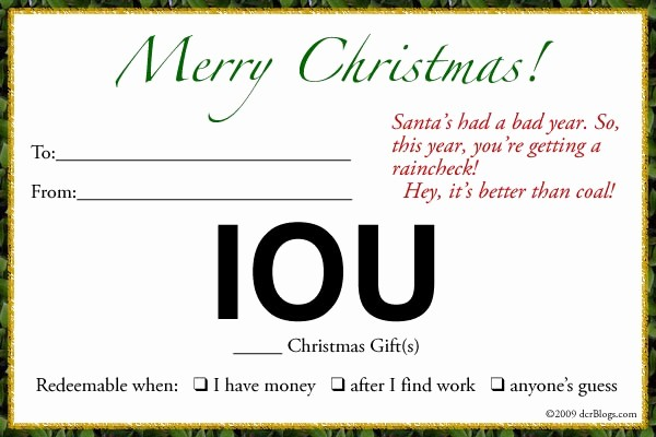 I Owe You Certificate Template Fresh Economic Disconnect Patience and the I O U Christmas