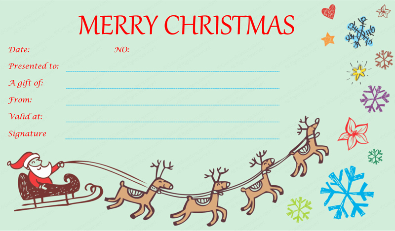 I Owe You Certificate Template Inspirational Flying Reindeer Christmas Gift Certificate Template