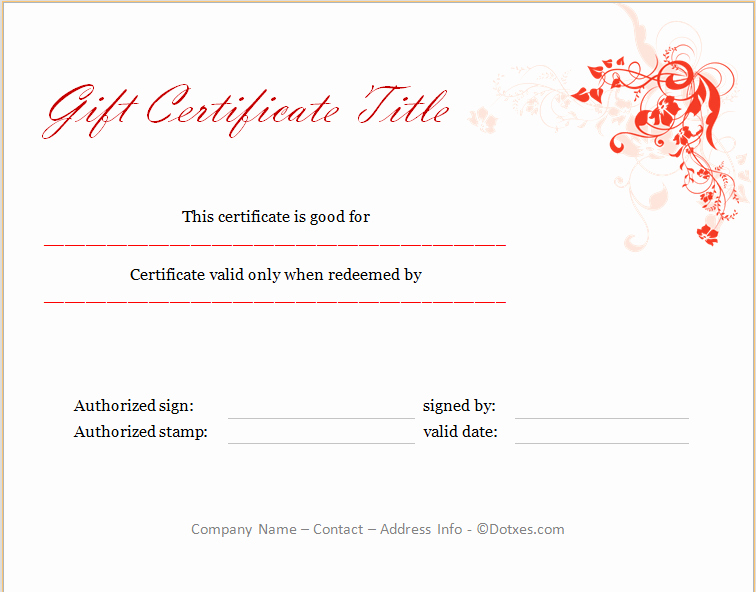 I Owe You Certificate Template New Holiday Gift Certificate Template Floral Design Dotxes