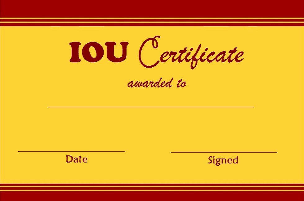 I Owe You Certificate Template New Select and Print Iou Certificates and Cards Fresh Designs