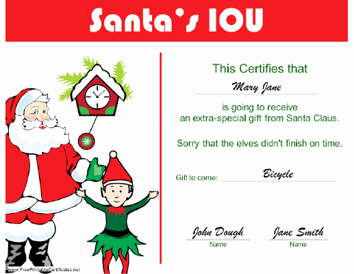 I Owe You Gift Certificate Beautiful Christmas Iou Printable Search Results