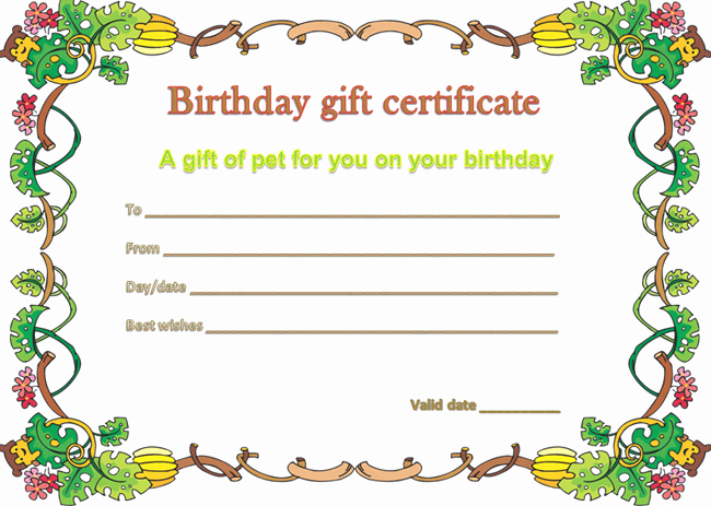 I Owe You Gift Certificate Beautiful Pet Gift Certificate Template for Birthday