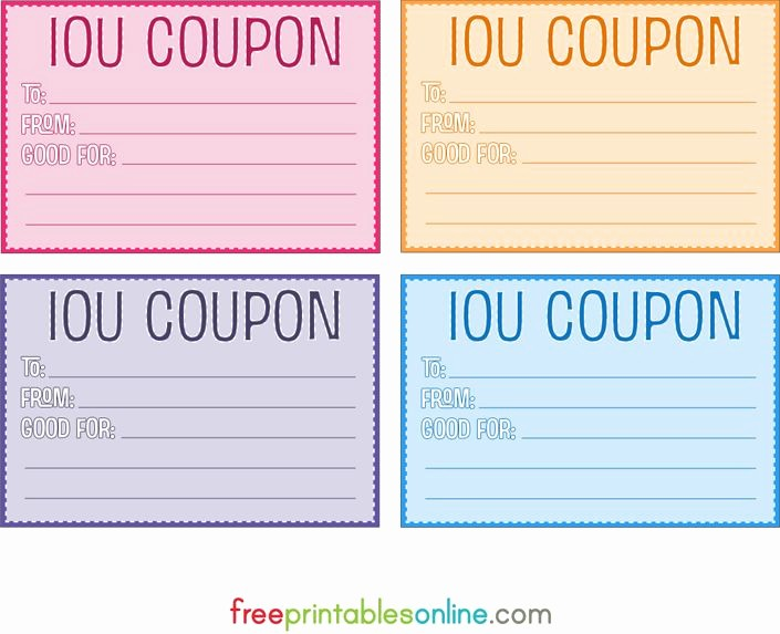 I Owe You Gift Certificate Best Of Colorful Free Printable Iou Coupons Diy