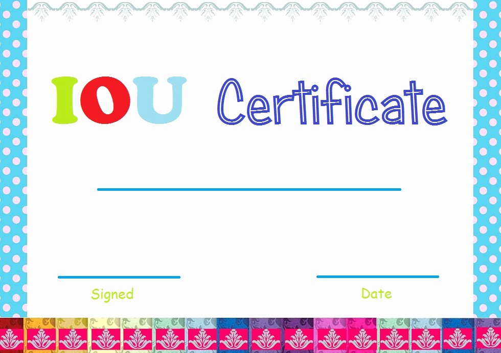 I Owe You Gift Certificate Fresh Select and Print Iou Certificates and Cards Fresh Designs