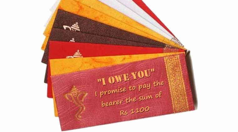 I Owe You Gift Certificate New Demonetisation Can't Give Newlyweds Rs 500 Rs 1000 as