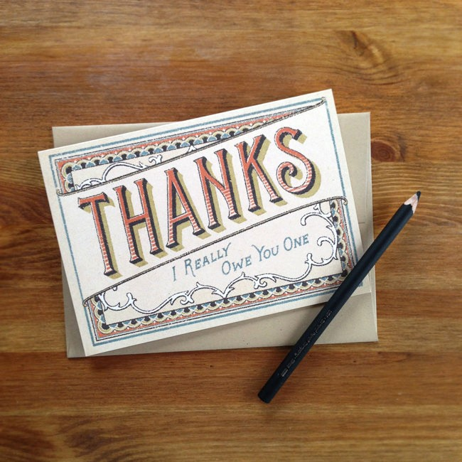 I Owe You Gift Certificate Unique I Owe You E Thank You Card by Projecttype On Etsy