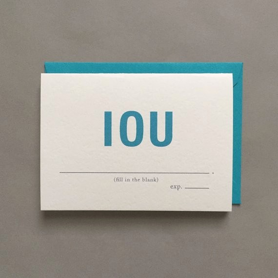 I Owe You Gift Certificate Unique Iou I Owe You Expiration Date Funny Greeting Card