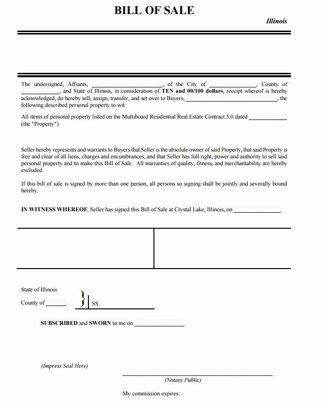 Illinois Dmv Bill Of Sale Fresh Free Illinois Personal Property Bill Of Sale form