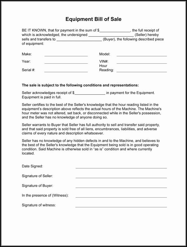 Illinois Dmv Bill Of Sale New Equipment Bill Sale Template Free Printable Documents
