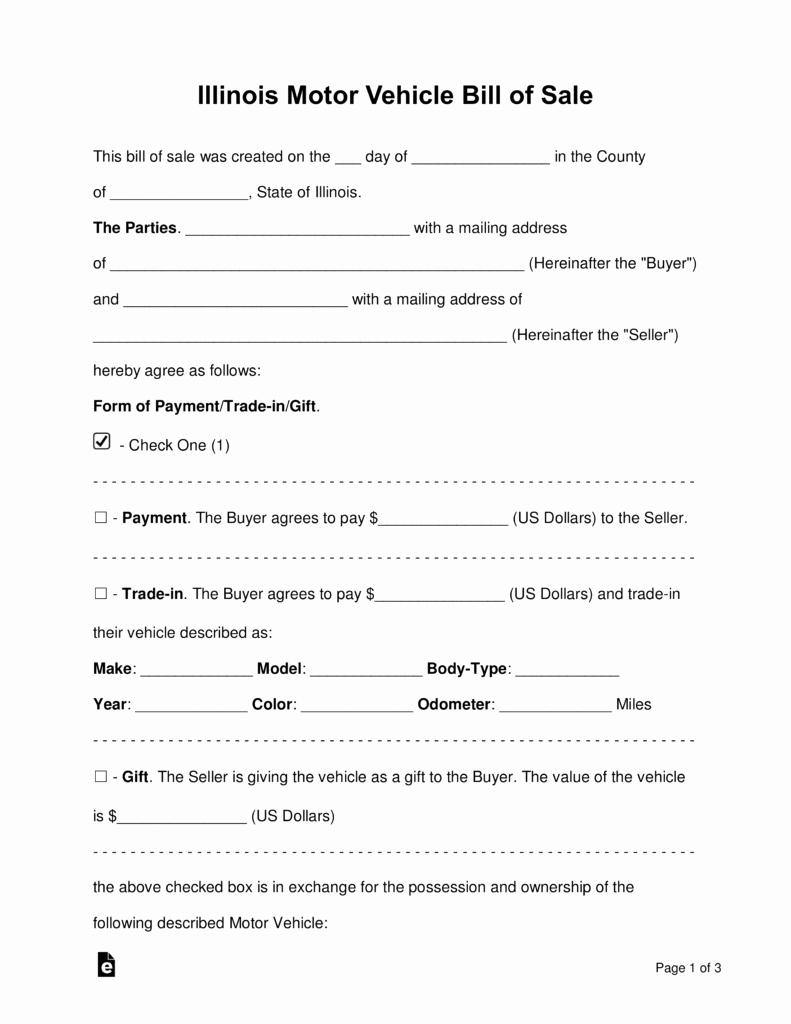 Illinois Dmv Bill Of Sale New Free Illinois Bill Of Sale forms Word Pdf