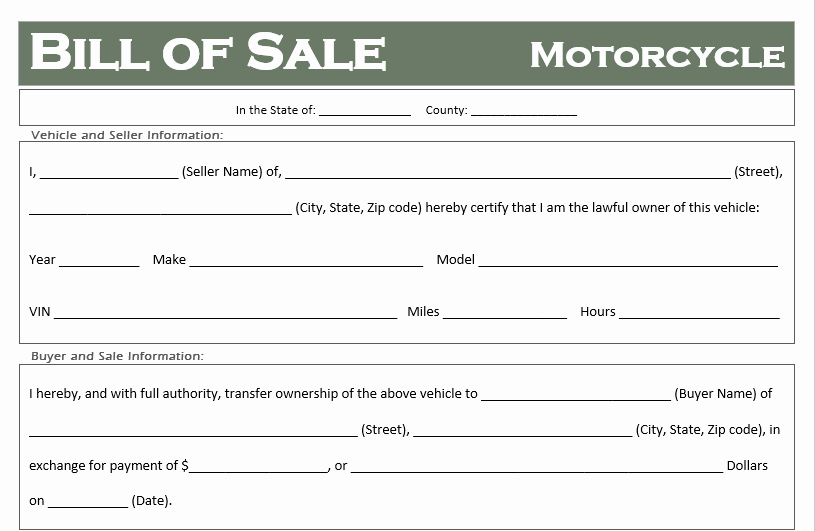 Illinois Motorcycle Bill Of Sale Awesome Free Motorcycle Bill Of Sale Templates All States F