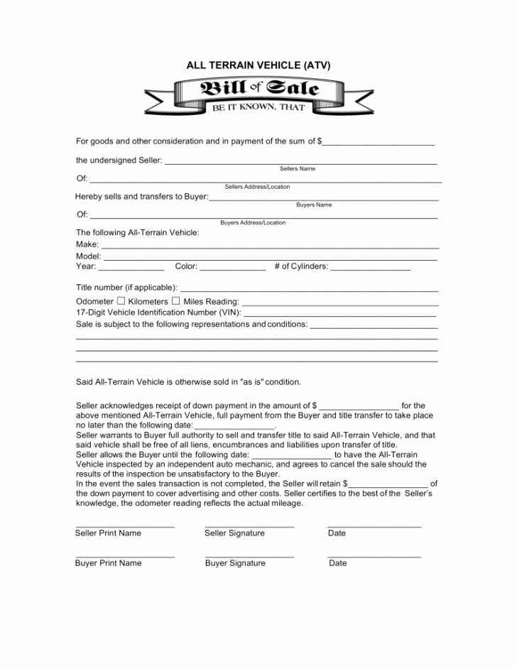 Illinois Motorcycle Bill Of Sale New Bill atv Bill Sale form