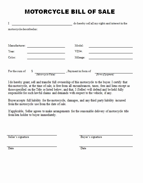 Illinois Motorcycle Bill Of Sale New Free Printable Motorcycle Bill Of Sale form Generic