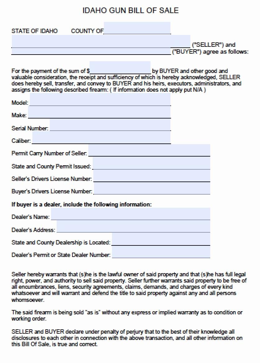 Illinois Vehicle Bill Of Sale Elegant Free Idaho Firearm Bill Of Sale form Pdf