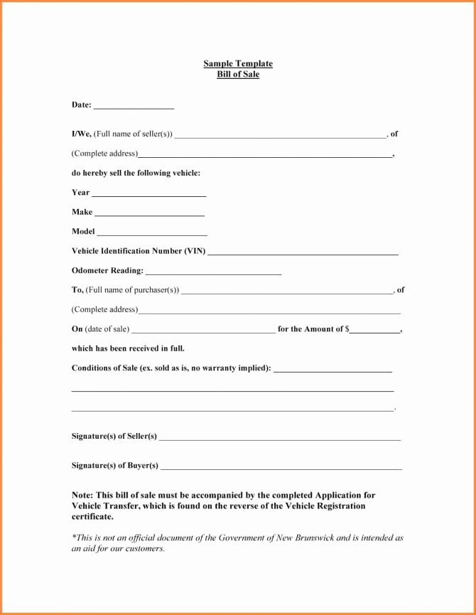 Illinois Vehicle Bill Of Sale Elegant Sample Bill Sale Printable for Rv form forms and
