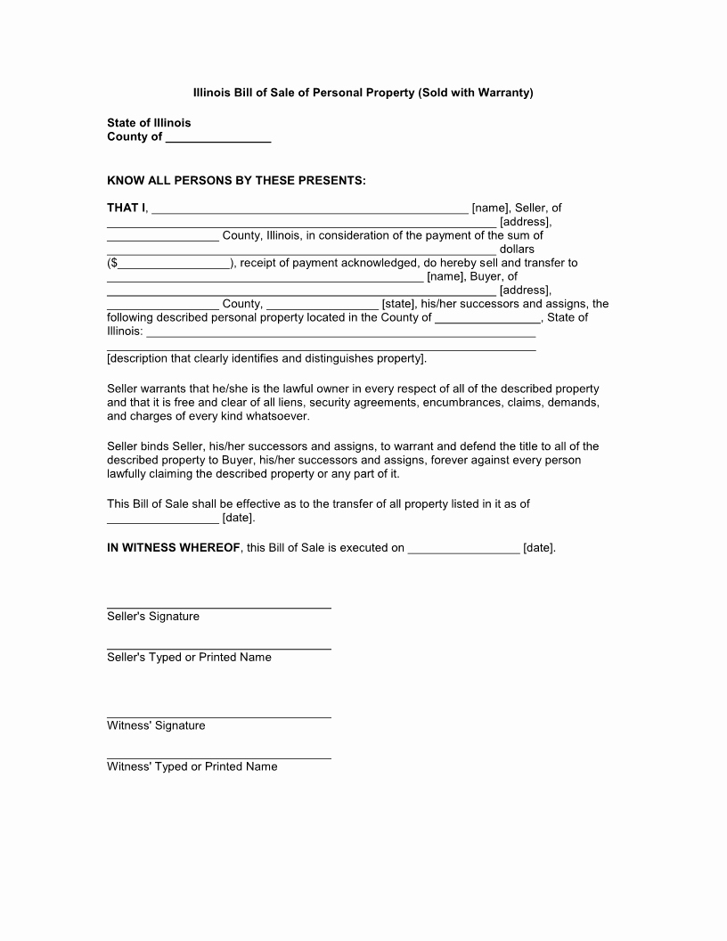 Illinois Vehicle Bill Of Sale Luxury Free Illinois Bill Of Sale Of Personal Property form
