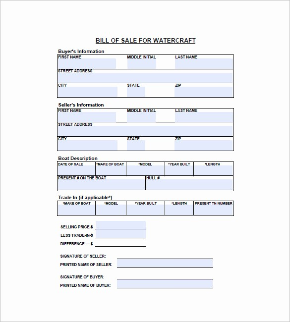 Illinois Vehicle Bill Of Sale Luxury Watercraft Bill Of Sale – 8 Free Sample Example format