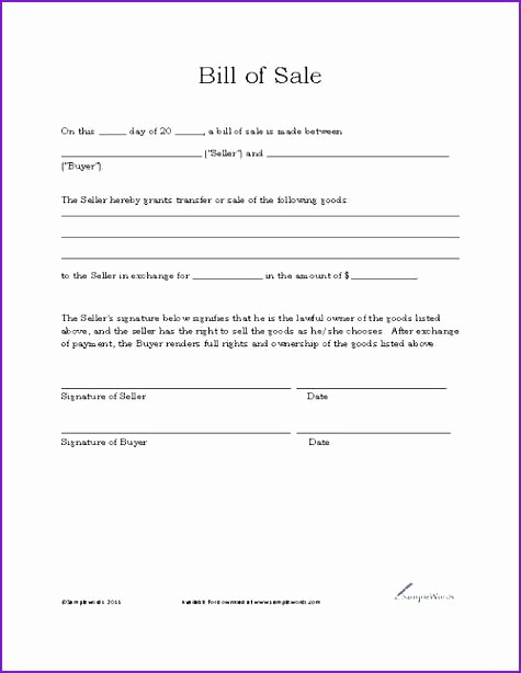 Illinois Vehicle Bill Of Sale New Bill Sale Template Simple Basic form for Car In