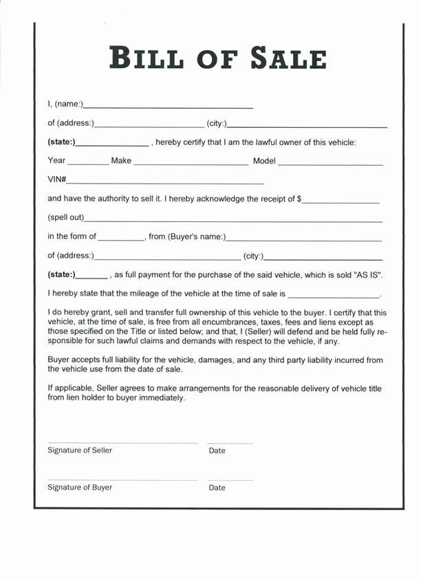 Illinois Vehicle Bill Of Sale New Motor Vehicle Bill Sale form