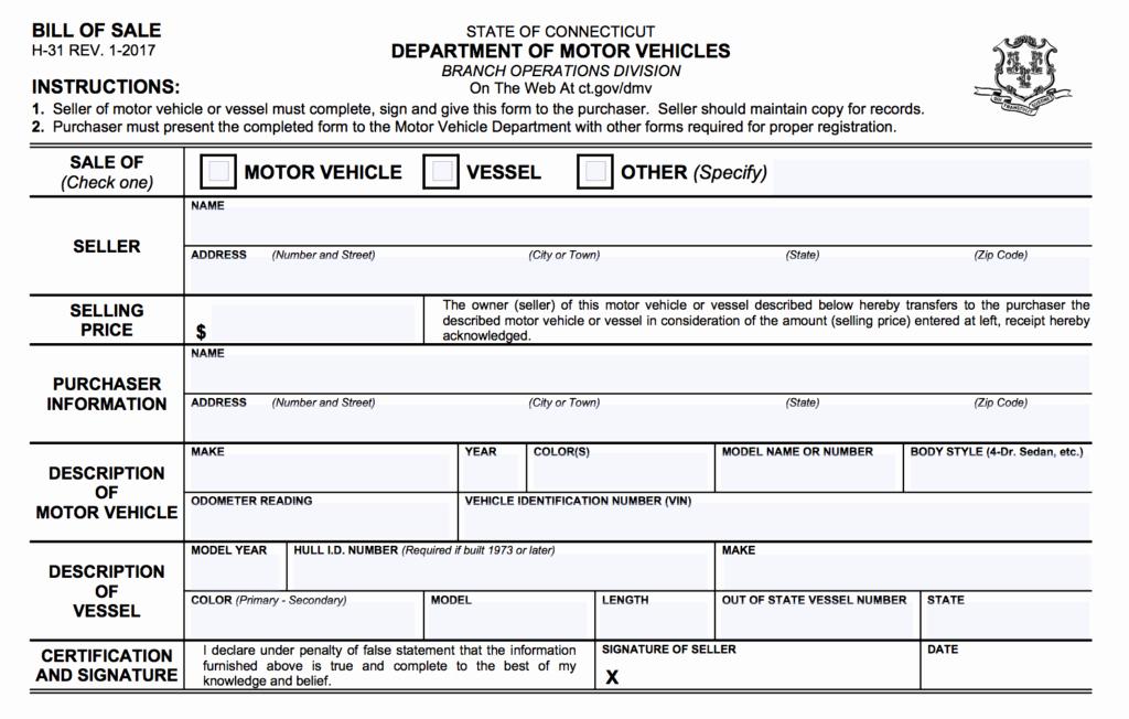 Illinois Vehicle Bill Of Sale Unique Connecticut Vehicle Vessel Bill Of Sale