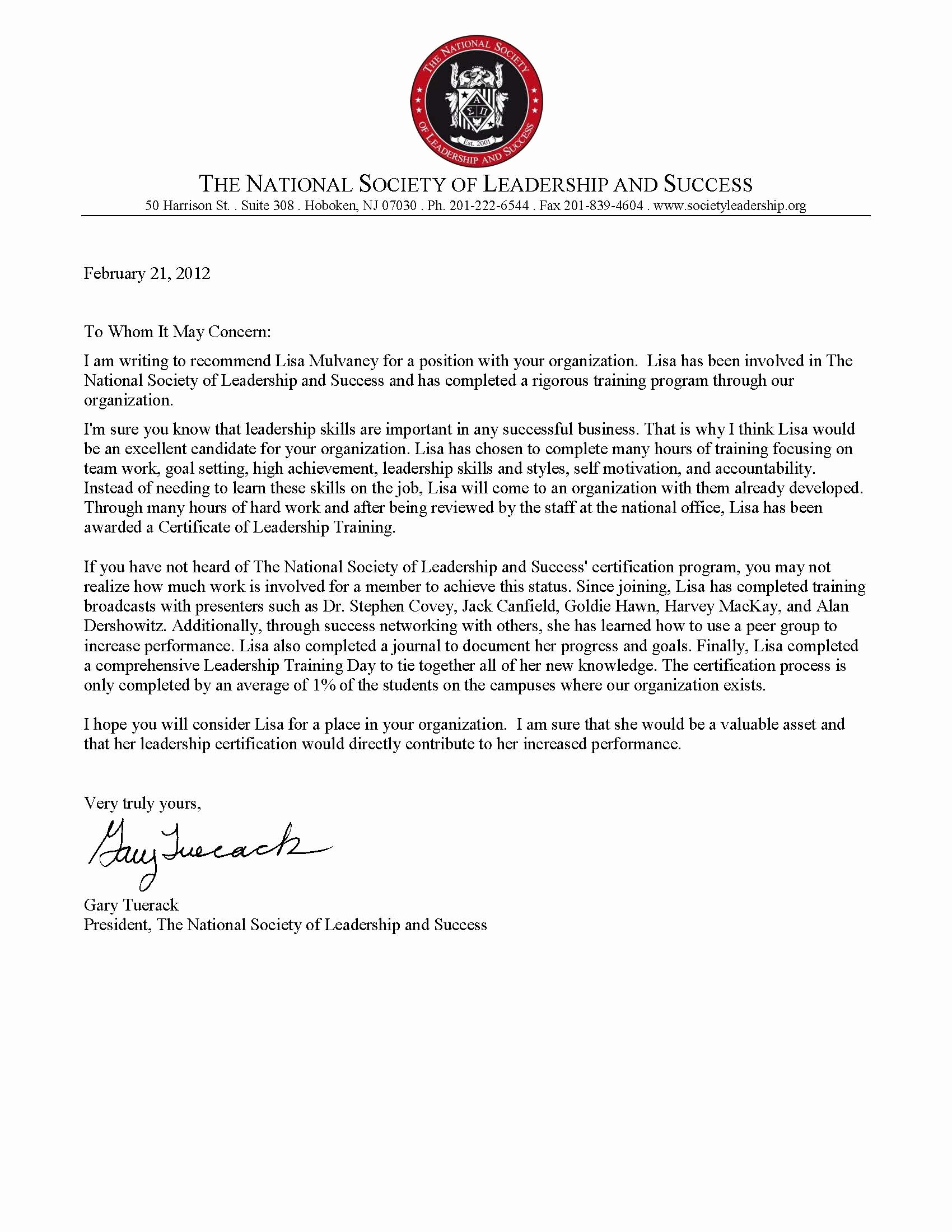 Images Of Letters Of Recommendation Elegant Letter Of Re Mendation From the National society Of