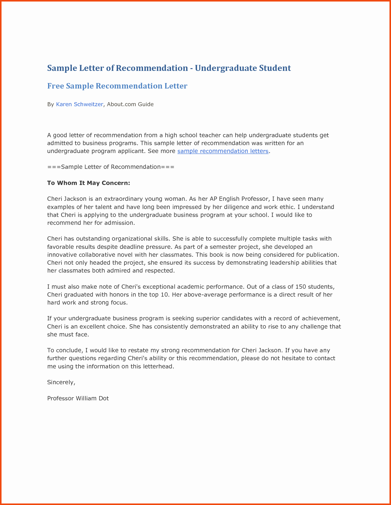 letters of re mendation samples for high school students