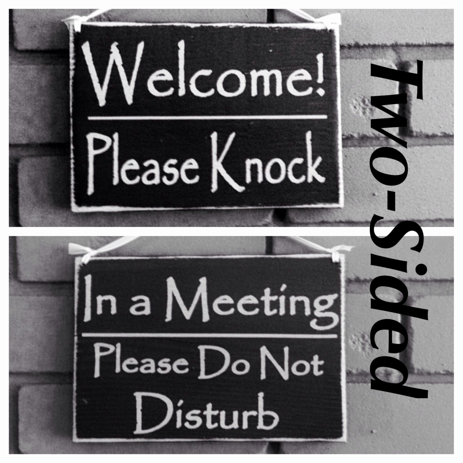 In A Meeting Door Sign Best Of Two Sided Wel E Please Knock In A Meeting Please Do Not