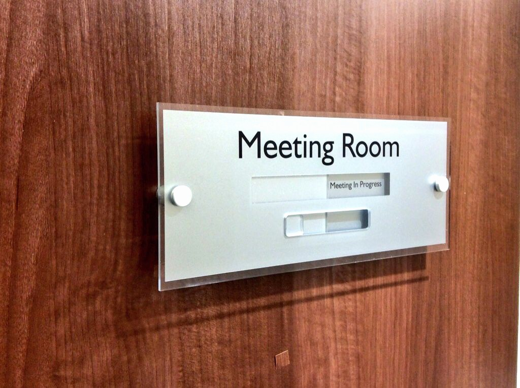 In A Meeting Door Sign Elegant Sliding Door Signs Meeting In Progress or Vacant