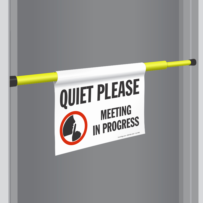 In A Meeting Door Sign Fresh Quiet Please Signs
