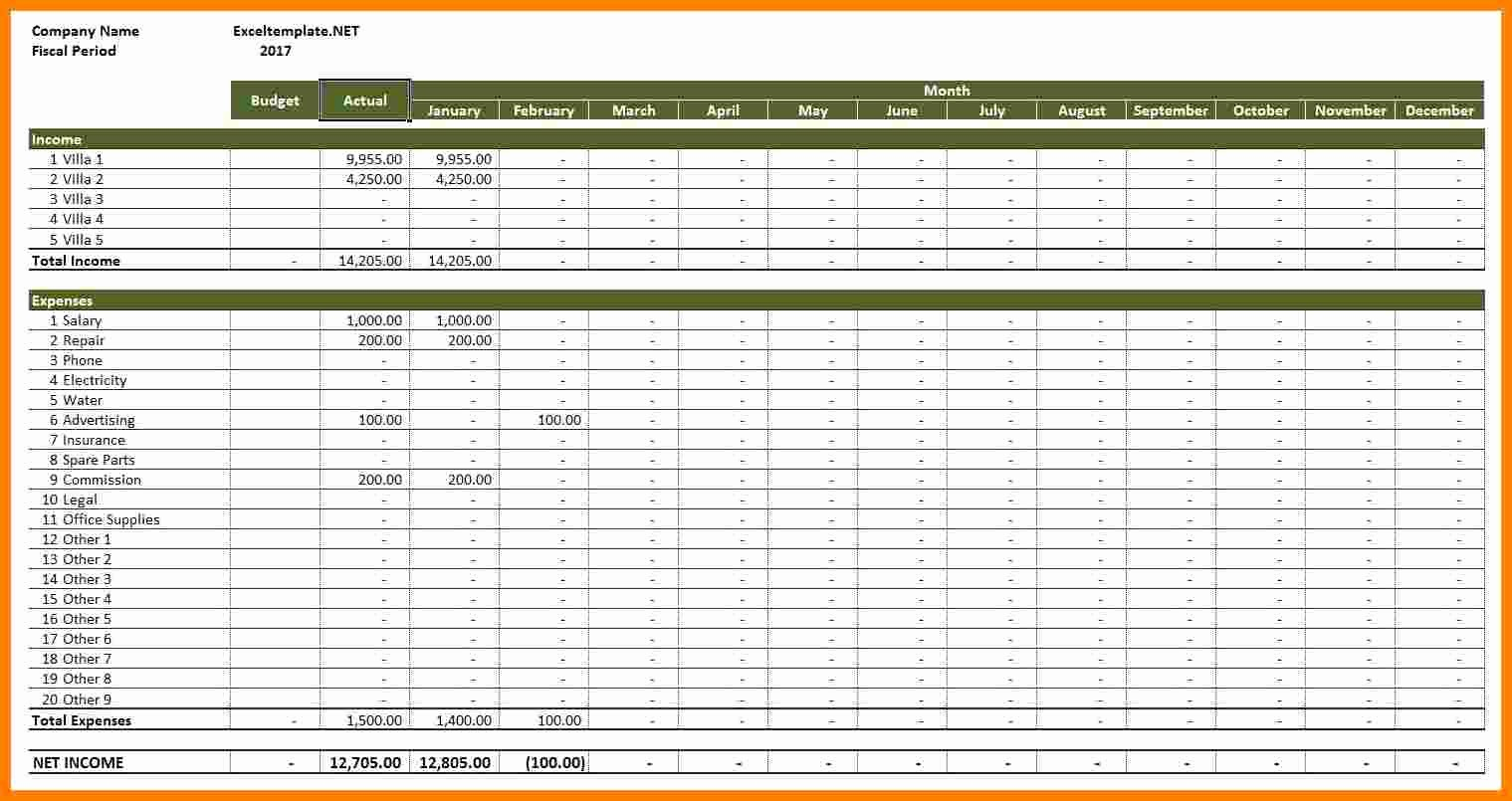 50 Income and Expense Ledger Template | Ufreeonline Template