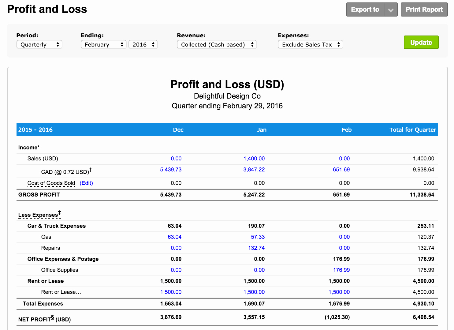 what is a profit and loss report