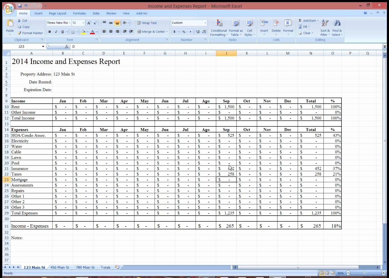 Income and Expense Report Template Unique In E and Expensesdsheet for Rental Property Monthly