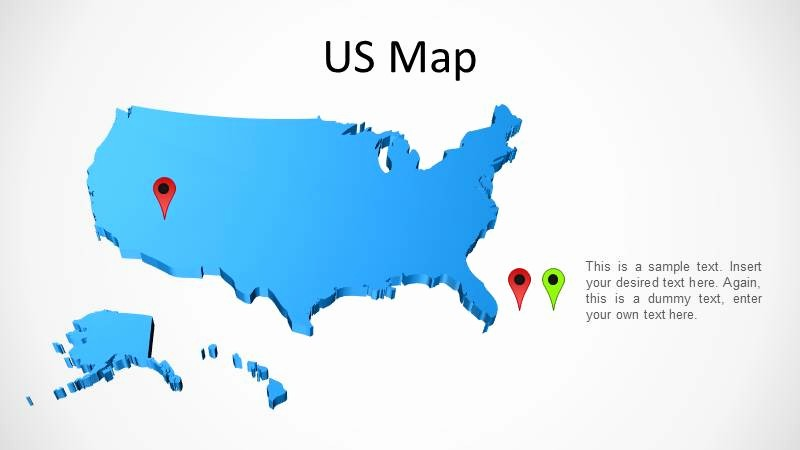 Interactive Map Of Usa Powerpoint Awesome 3d Powerpoint Map Of the United States Slidemodel