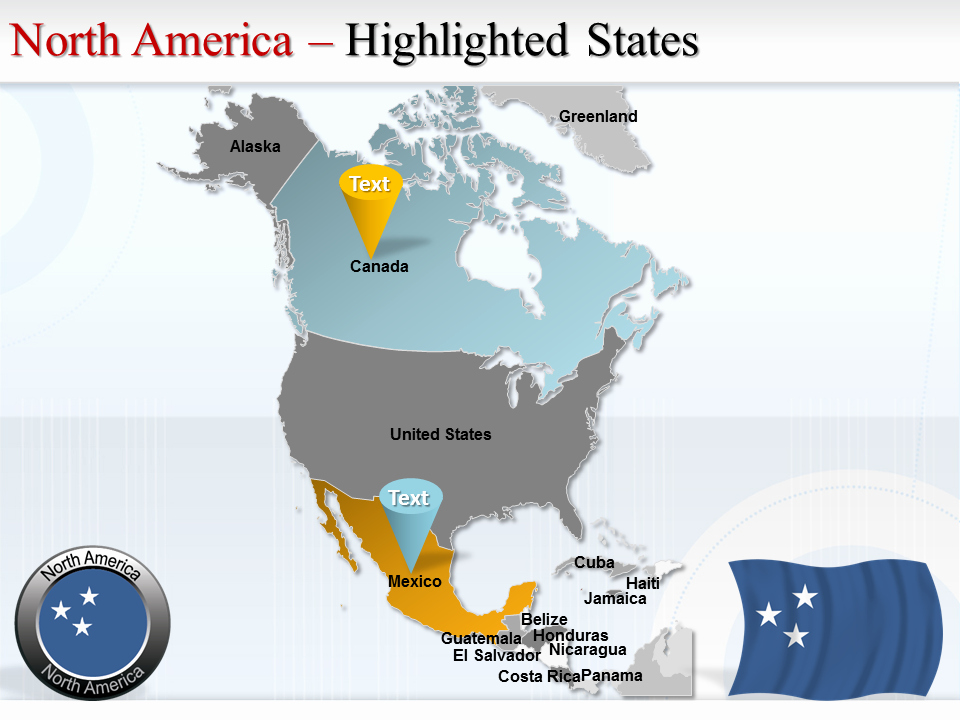 Interactive Map Of Usa Powerpoint Unique Interactive north America Powerpoint Maps Editable Ppt