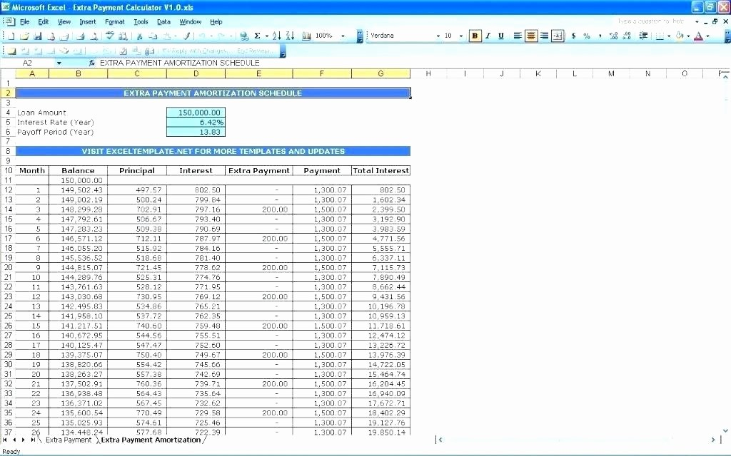 Interest Only Amortization Schedule Excel Elegant Amortization Schedule with Extra Payments Excel – Whatafan