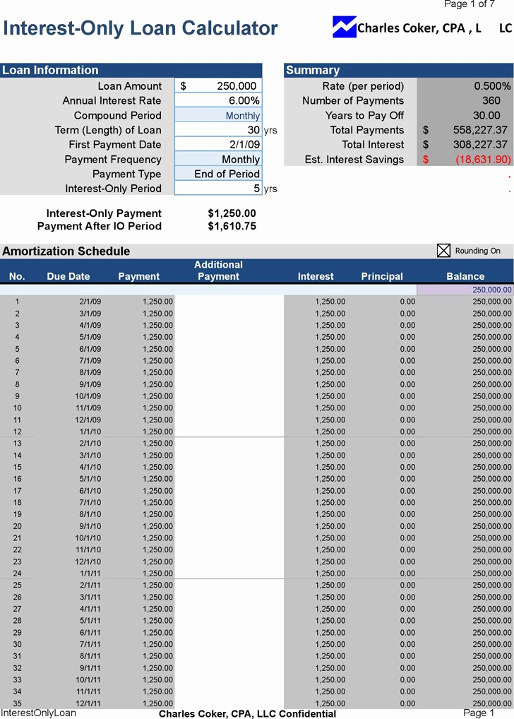 Interest Only Amortization Schedule Excel Inspirational 8 Loan Calculators Free Download