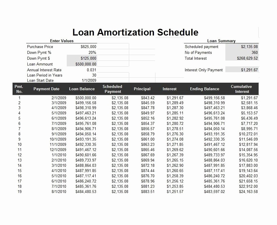 Interest Only Amortization Schedule Excel New 28 Tables to Calculate Loan Amortization Schedule Excel