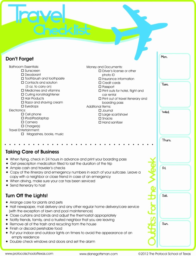 International Travel Packing List Template Beautiful Travel Checklist Printable