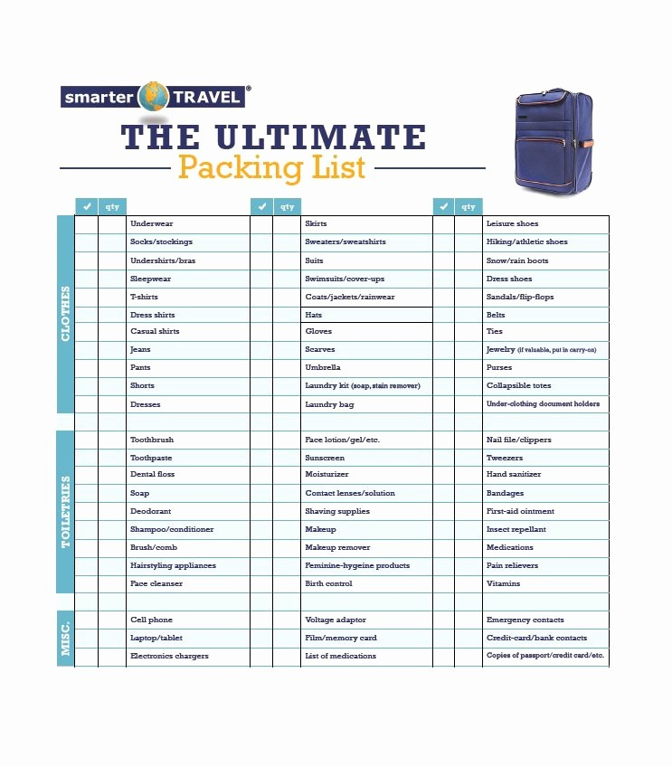 International Travel Packing List Template Best Of 40 Awesome Printable Packing Lists College Cruise