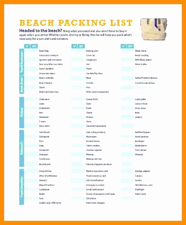 International Travel Packing List Template Elegant Travel Packing Checklist Template Free Packing List