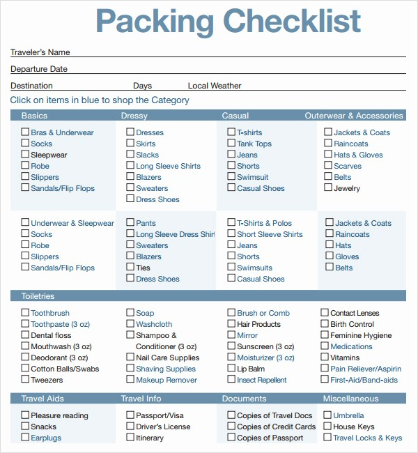 International Travel Packing List Template Fresh 16 Sample Packing Checklist Templates to Download