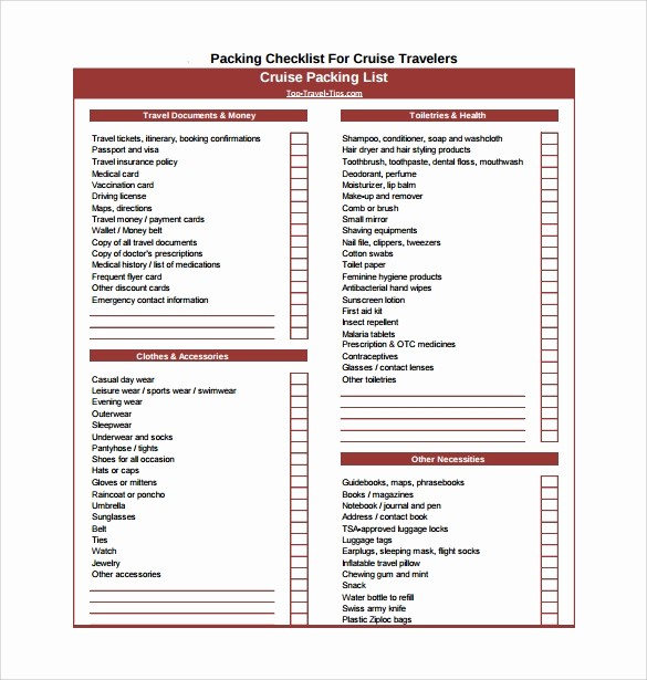 International Travel Packing List Template Fresh Packing Checklist Template 15 Download Free Documents